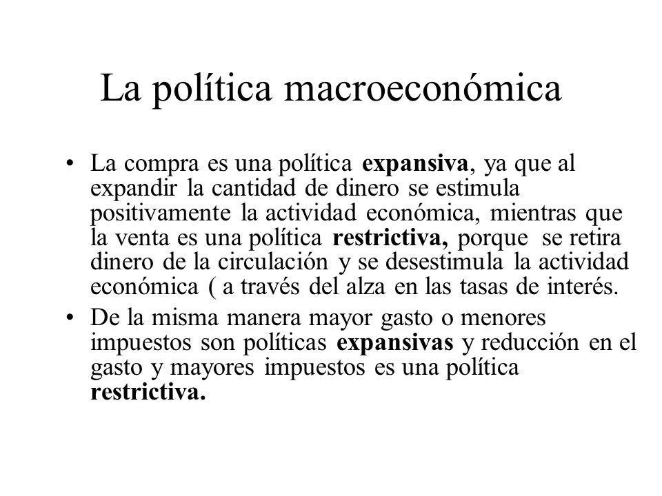 La política macroeconómica La política monetaria consiste en –Las operaciones de mercado abierta pueden ser: Compra de OMAs (el Banguat recibe papeles