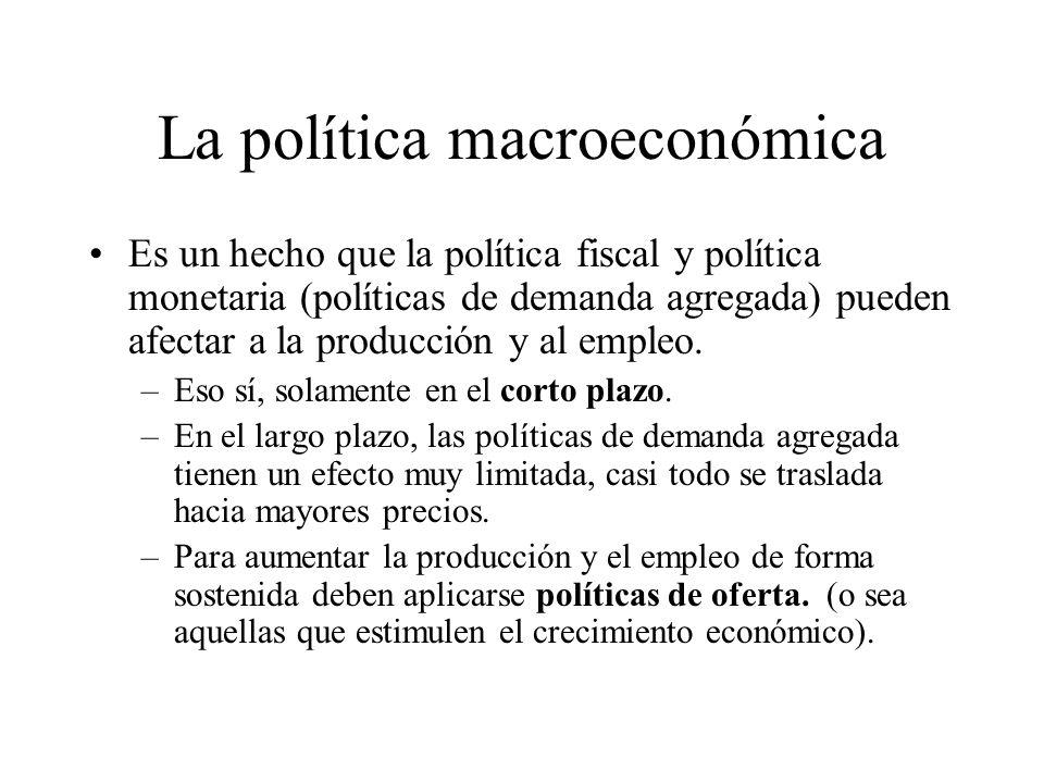 La política macroeconómica La compra es una política expansiva, ya que al expandir la cantidad de dinero se estimula positivamente la actividad económ