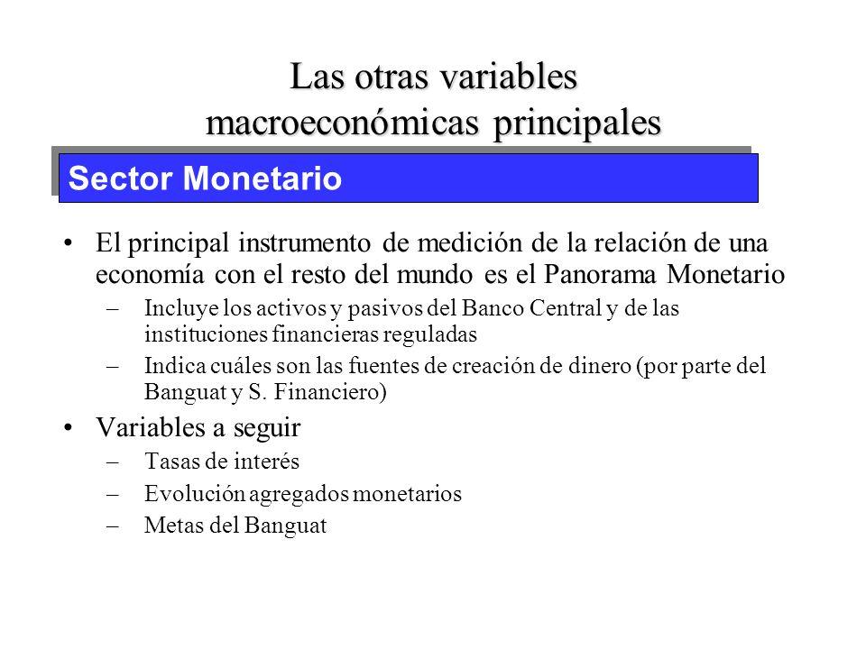 Las otras variables macroeconómicas principales El principal instrumento de medición de la relación de una economía con el resto del mundo es la Balan