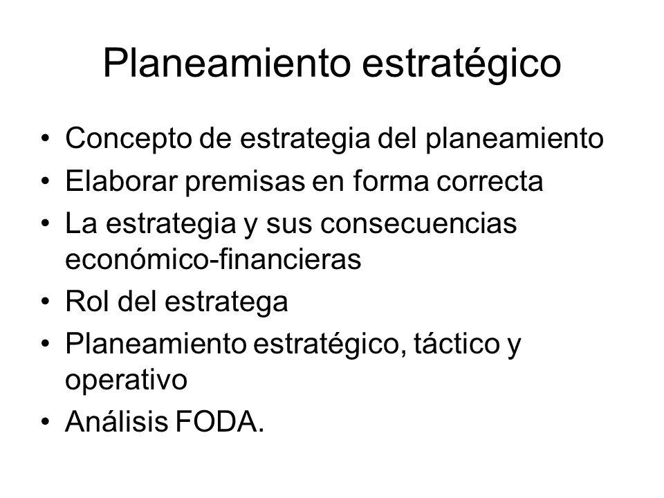 Planeamiento estratégico Concepto de estrategia del planeamiento Elaborar premisas en forma correcta La estrategia y sus consecuencias económico-finan