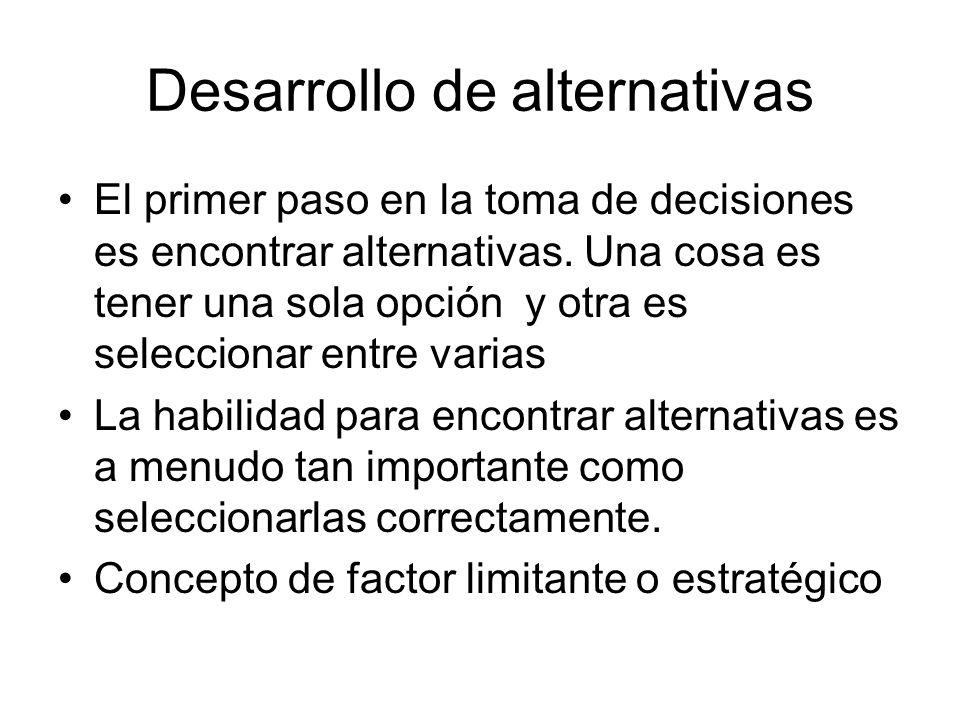 Desarrollo de alternativas El primer paso en la toma de decisiones es encontrar alternativas. Una cosa es tener una sola opción y otra es seleccionar