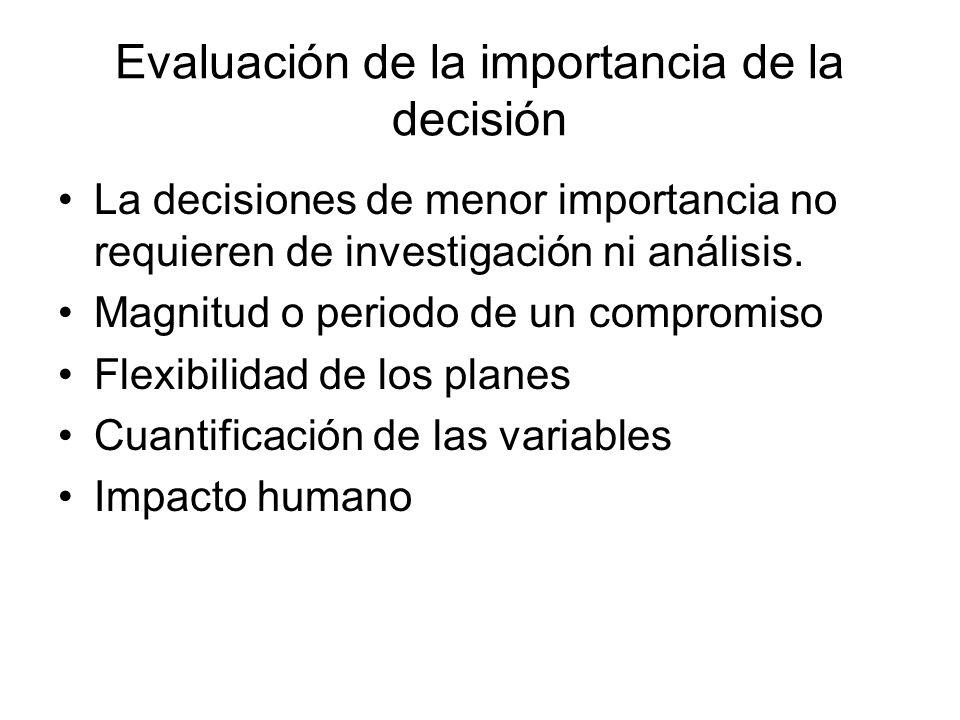 Evaluación de la importancia de la decisión La decisiones de menor importancia no requieren de investigación ni análisis. Magnitud o periodo de un com
