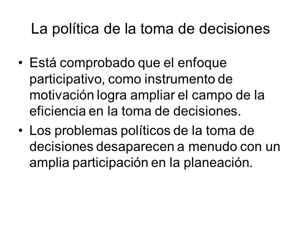 La política de la toma de decisiones Está comprobado que el enfoque participativo, como instrumento de motivación logra ampliar el campo de la eficien