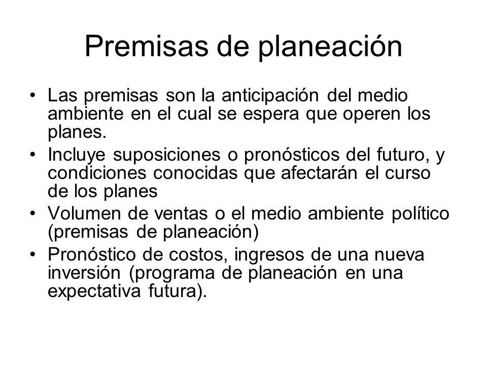 Premisas de planeación Las premisas son la anticipación del medio ambiente en el cual se espera que operen los planes. Incluye suposiciones o pronósti