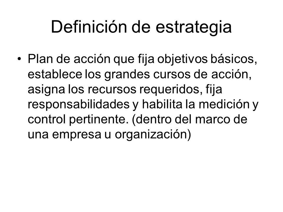 Definición de estrategia Plan de acción que fija objetivos básicos, establece los grandes cursos de acción, asigna los recursos requeridos, fija respo