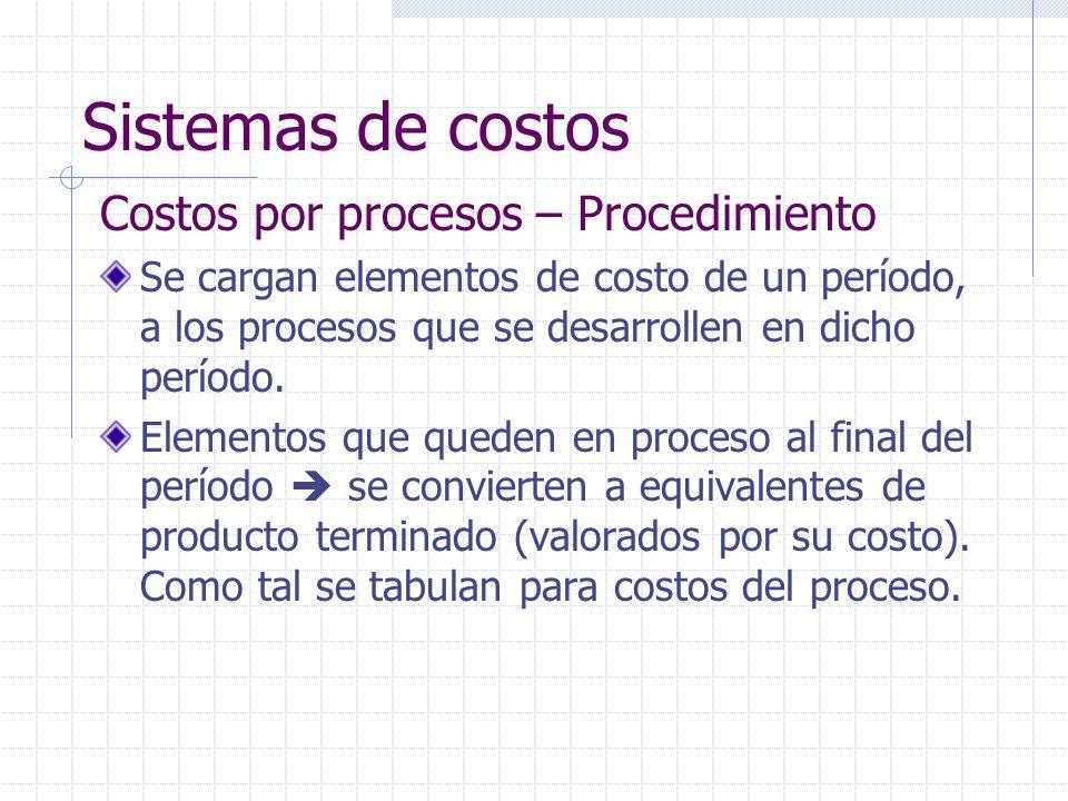 Sistemas de costos Costos por procesos – Procedimiento Se cargan elementos de costo de un período, a los procesos que se desarrollen en dicho período.