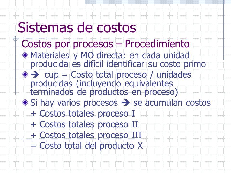 Sistemas de costos Costos por procesos – Procedimiento Materiales y MO directa: en cada unidad producida es difícil identificar su costo primo cup = C