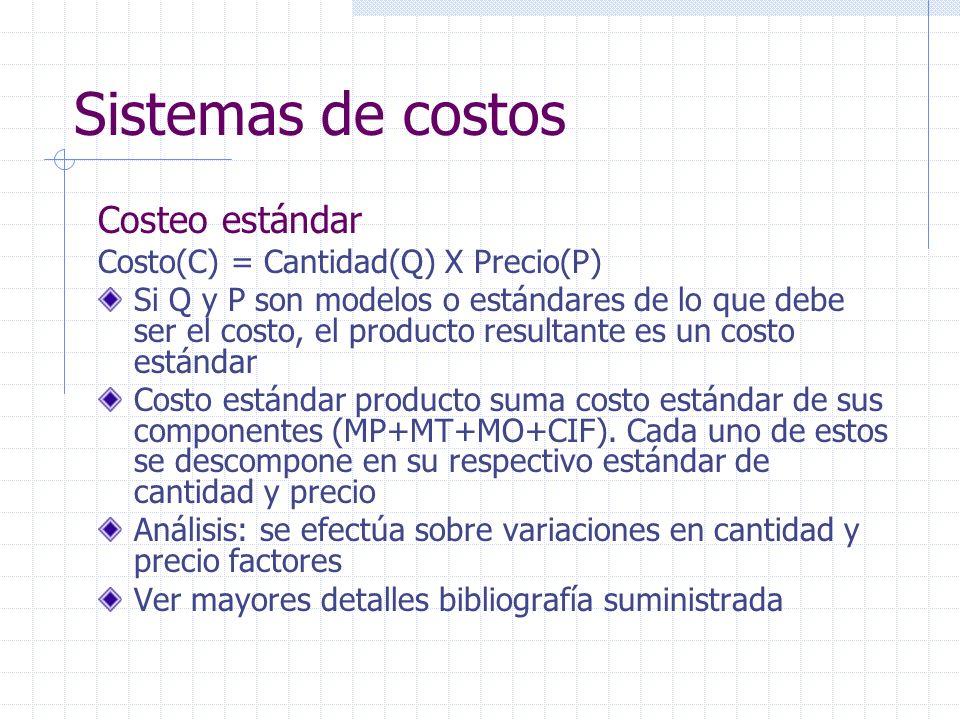 Sistemas de costos Costeo estándar Costo(C) = Cantidad(Q) X Precio(P) Si Q y P son modelos o estándares de lo que debe ser el costo, el producto resul