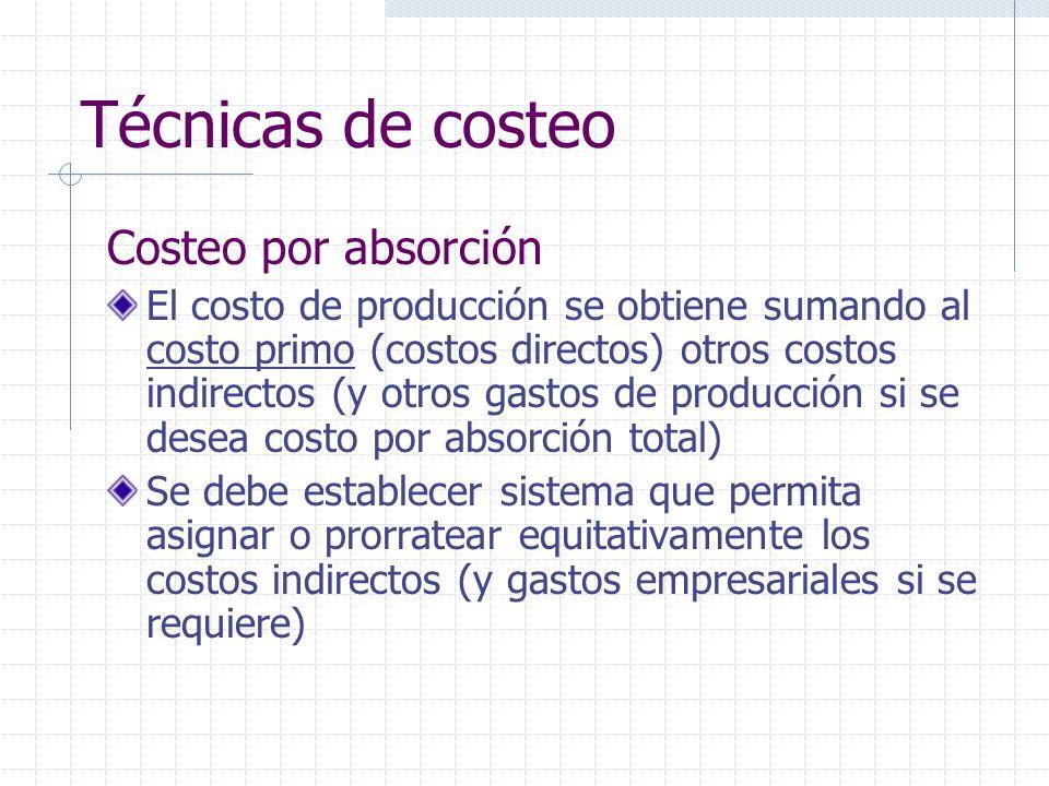 Técnicas de costeo Costeo por absorción El costo de producción se obtiene sumando al costo primo (costos directos) otros costos indirectos (y otros ga