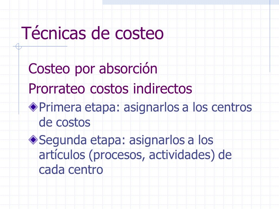 Técnicas de costeo Costeo por absorción Prorrateo costos indirectos Primera etapa: asignarlos a los centros de costos Segunda etapa: asignarlos a los