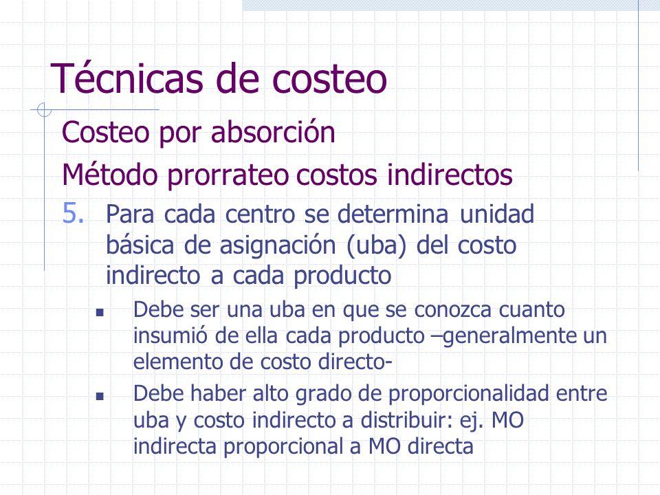 Técnicas de costeo Costeo por absorción Método prorrateo costos indirectos 5. Para cada centro se determina unidad básica de asignación (uba) del cost