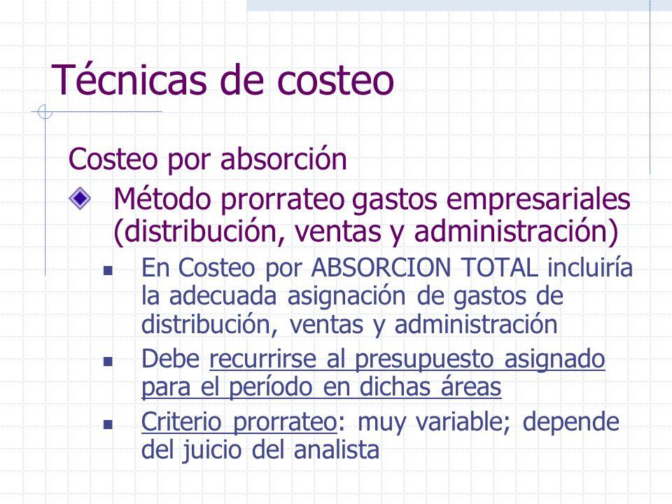 Técnicas de costeo Costeo por absorción Método prorrateo gastos empresariales (distribución, ventas y administración) En Costeo por ABSORCION TOTAL in