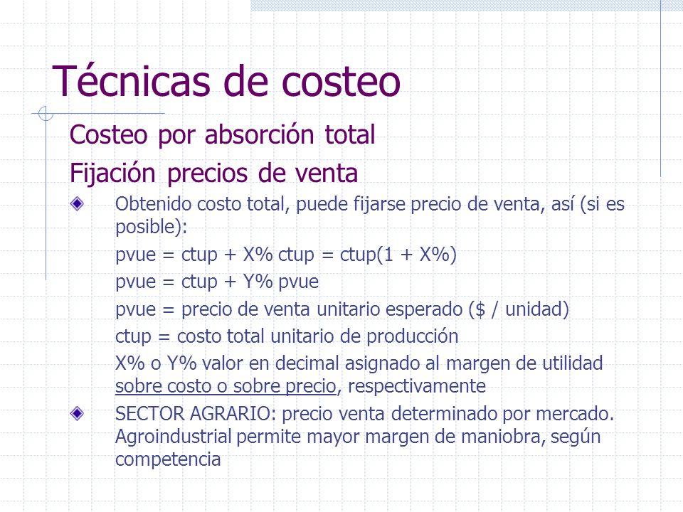 Técnicas de costeo Costeo por absorción total Fijación precios de venta Obtenido costo total, puede fijarse precio de venta, así (si es posible): pvue
