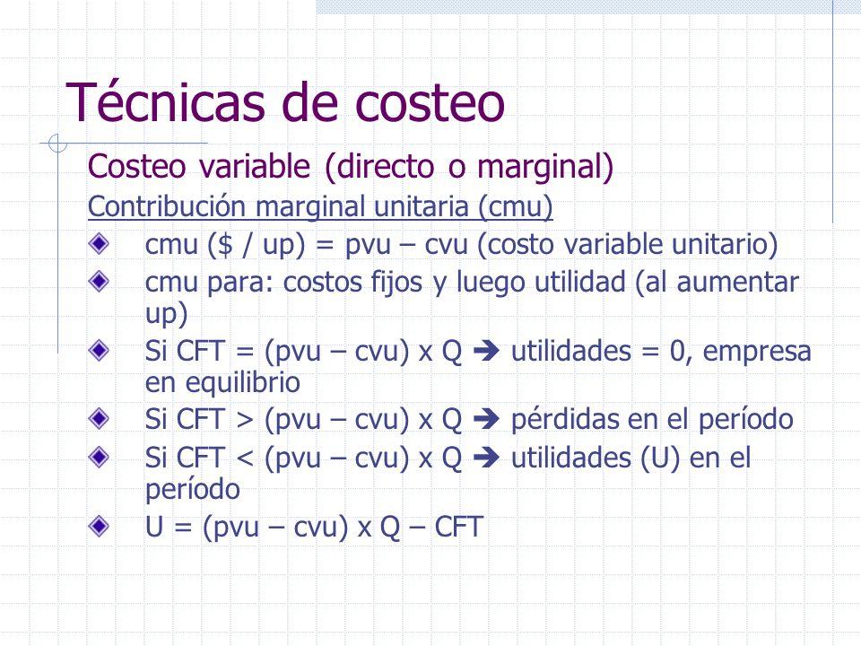 Técnicas de costeo Costeo variable (directo o marginal) Contribución marginal unitaria (cmu) cmu ($ / up) = pvu – cvu (costo variable unitario) cmu pa