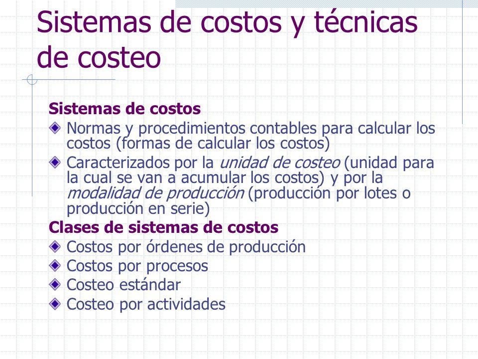 Sistemas de costos Costeo estándar Costo(C) = Cantidad(Q) X Precio(P) Si Q y P son modelos o estándares de lo que debe ser el costo, el producto resultante es un costo estándar Costo estándar producto suma costo estándar de sus componentes (MP+MT+MO+CIF).
