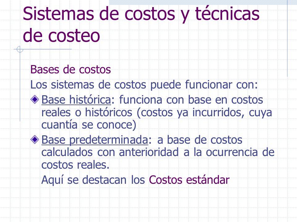 Sistemas de costos y técnicas de costeo Bases de costos Los sistemas de costos puede funcionar con: Base histórica: funciona con base en costos reales