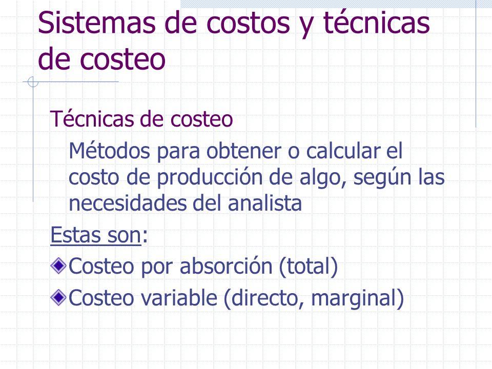 Técnicas de costeo Costeo variable (directo o marginal) Costo medio (CM) Costo unitario resultante de dividir la suma de los costos de producción de todas las unidades producidas entre dichas unidades, o sea: CM($/ up) = CT / up