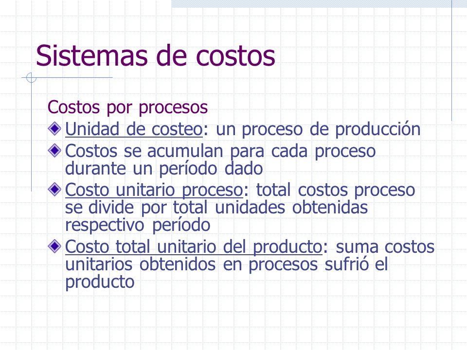 Sistemas de costos Costos por procesos Apto para producción en serie de unidades homogéneas, cuya fabricación se cumple por etapas sucesivas hasta su terminación final Aplica a empresas transformadoras: modifican o adicionan otros materiales a una MP, en proceso continuo.