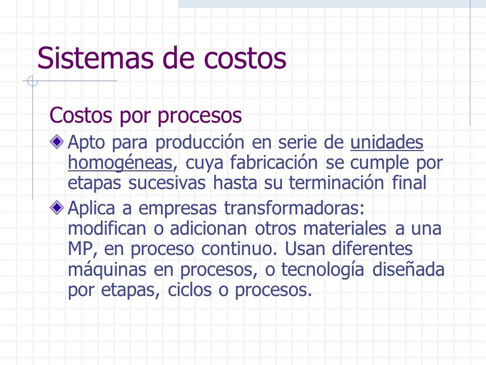 Sistemas de costos Costos por procesos Apto para producción en serie de unidades homogéneas, cuya fabricación se cumple por etapas sucesivas hasta su