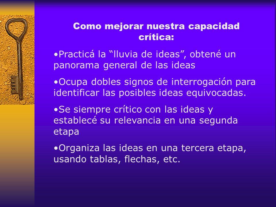Como mejorar nuestra capacidad crítica: Practicá la lluvia de ideas, obtené un panorama general de las ideas Ocupa dobles signos de interrogación para