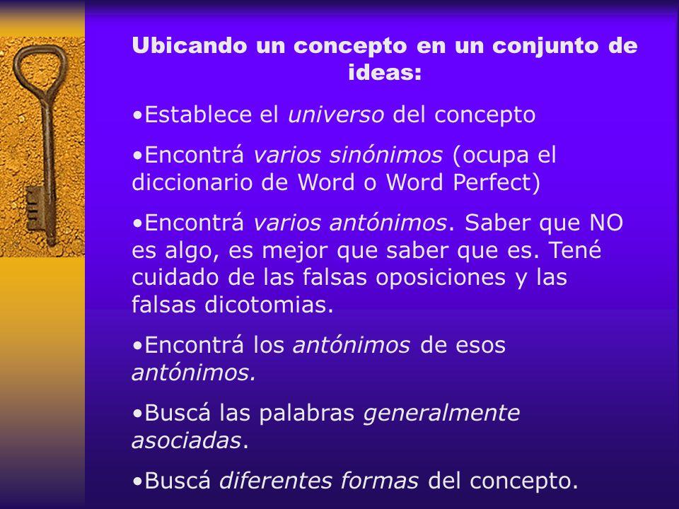 Ubicando un concepto en un conjunto de ideas: Establece el universo del concepto Encontrá varios sinónimos (ocupa el diccionario de Word o Word Perfec