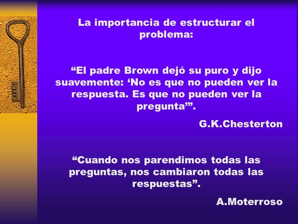 La importancia de estructurar el problema: El padre Brown dejó su puro y dijo suavemente: No es que no pueden ver la respuesta. Es que no pueden ver l
