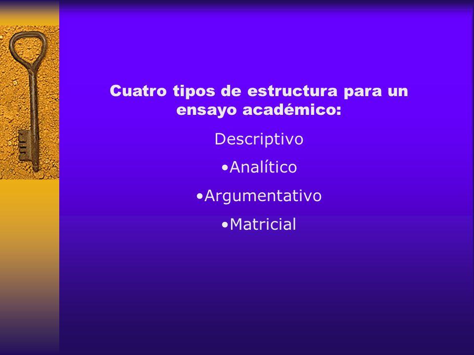 Cuatro tipos de estructura para un ensayo académico: Descriptivo Analítico Argumentativo Matricial