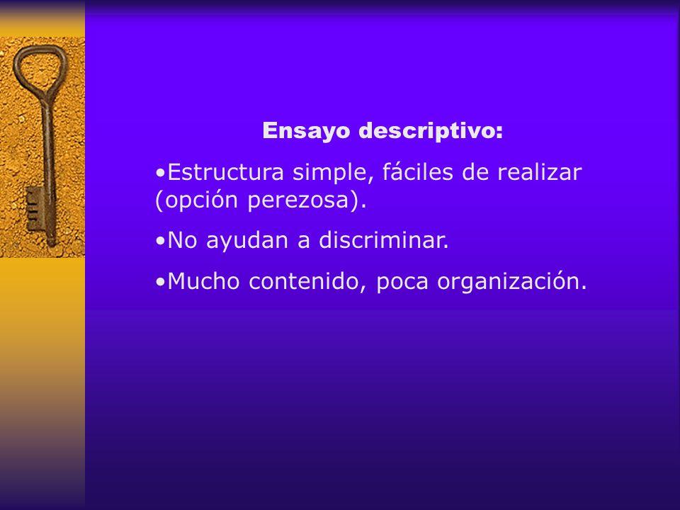 Ensayo descriptivo: Estructura simple, fáciles de realizar (opción perezosa). No ayudan a discriminar. Mucho contenido, poca organización.