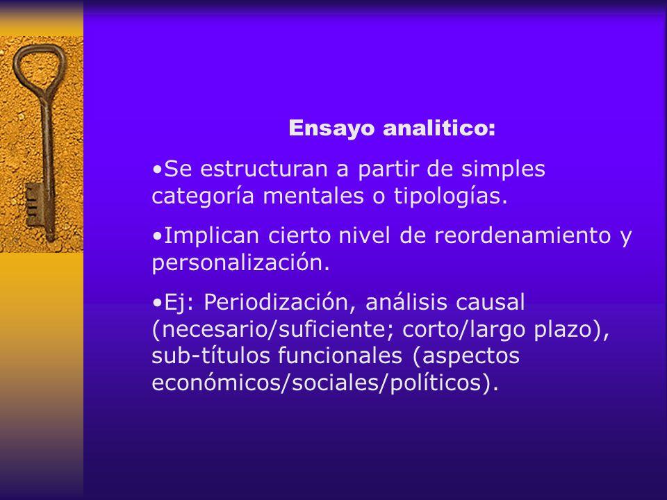 Ensayo analitico: Se estructuran a partir de simples categoría mentales o tipologías. Implican cierto nivel de reordenamiento y personalización. Ej: P