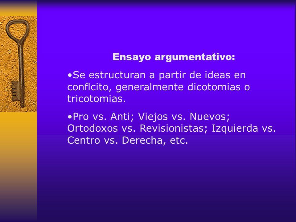 Ensayo argumentativo: Se estructuran a partir de ideas en conflcito, generalmente dicotomias o tricotomias. Pro vs. Anti; Viejos vs. Nuevos; Ortodoxos