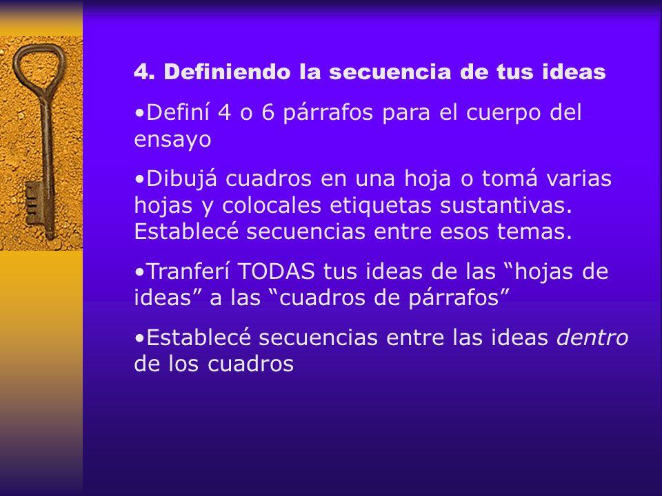 4. Definiendo la secuencia de tus ideas Definí 4 o 6 párrafos para el cuerpo del ensayo Dibujá cuadros en una hoja o tomá varias hojas y colocales eti