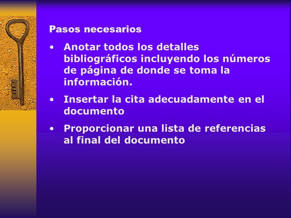 Pasos necesarios Anotar todos los detalles bibliográficos incluyendo los números de página de donde se toma la información. Insertar la cita adecuadam