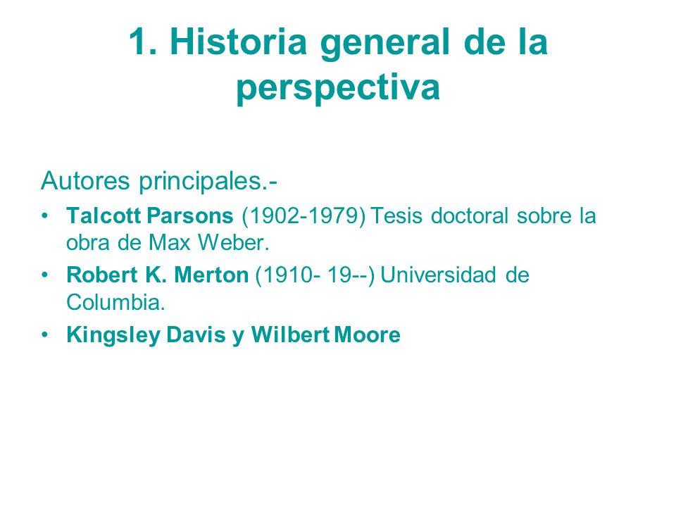 1. Historia general de la perspectiva Autores principales.- Talcott Parsons (1902-1979) Tesis doctoral sobre la obra de Max Weber. Robert K. Merton (1