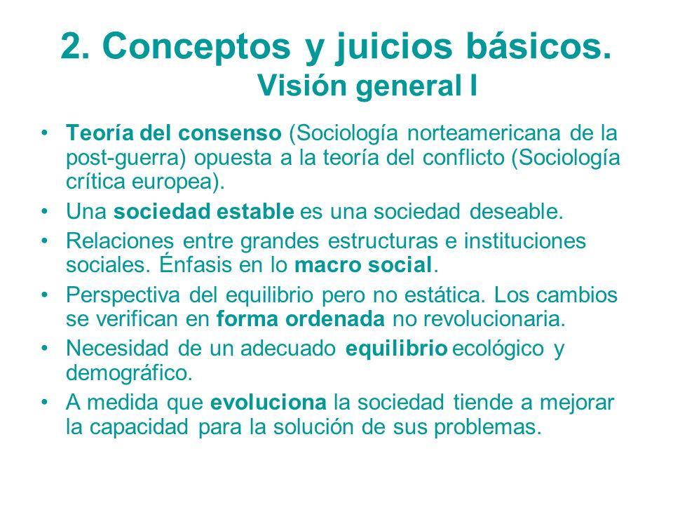 2. Conceptos y juicios básicos. Visión general I Teoría del consenso (Sociología norteamericana de la post-guerra) opuesta a la teoría del conflicto (
