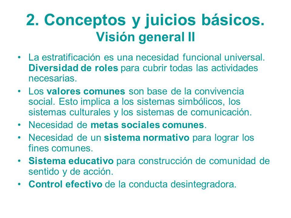 2. Conceptos y juicios básicos. Visión general II La estratificación es una necesidad funcional universal. Diversidad de roles para cubrir todas las a