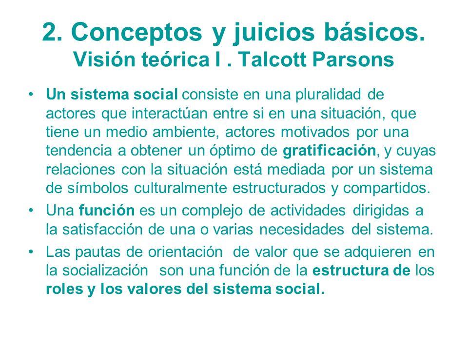 2. Conceptos y juicios básicos. Visión teórica I. Talcott Parsons Un sistema social consiste en una pluralidad de actores que interactúan entre si en