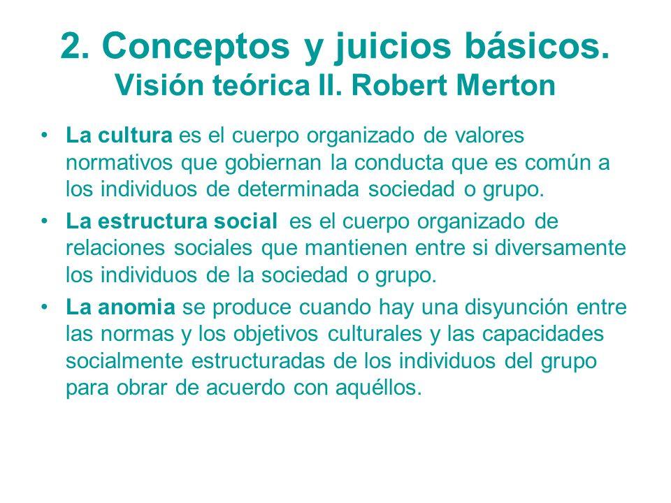 2. Conceptos y juicios básicos. Visión teórica II. Robert Merton La cultura es el cuerpo organizado de valores normativos que gobiernan la conducta qu