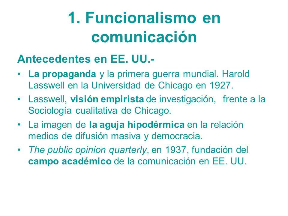 1. Funcionalismo en comunicación Antecedentes en EE. UU.- La propaganda y la primera guerra mundial. Harold Lasswell en la Universidad de Chicago en 1