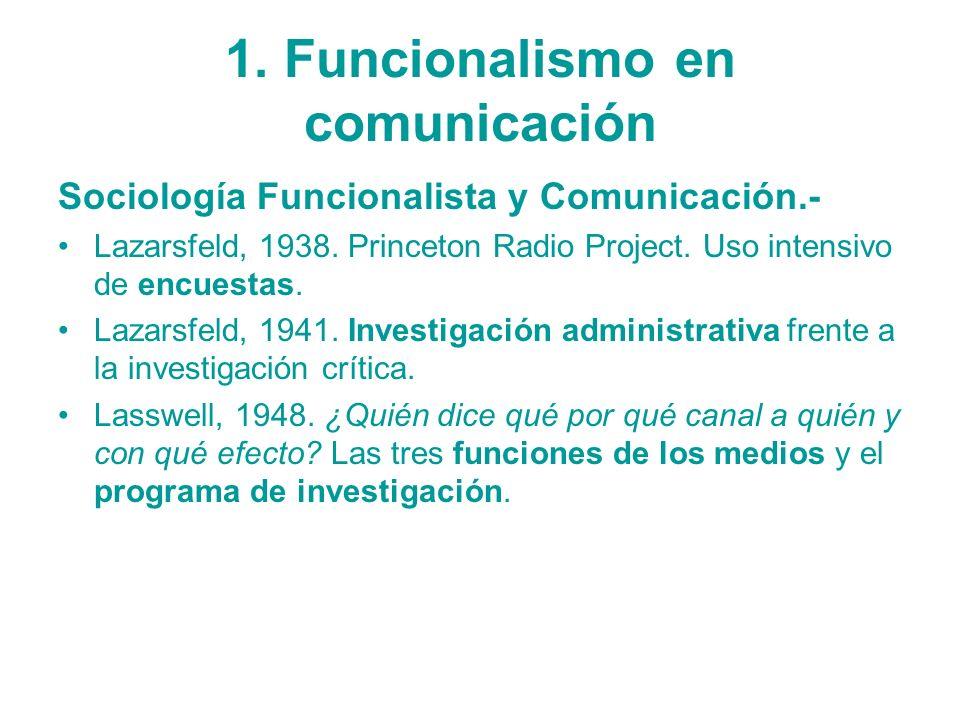 1. Funcionalismo en comunicación Sociología Funcionalista y Comunicación.- Lazarsfeld, 1938. Princeton Radio Project. Uso intensivo de encuestas. Laza