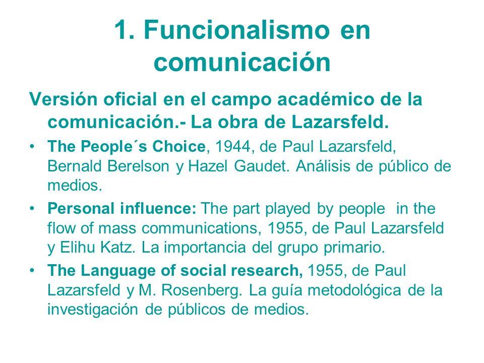 1. Funcionalismo en comunicación Versión oficial en el campo académico de la comunicación.- La obra de Lazarsfeld. The People´s Choice, 1944, de Paul