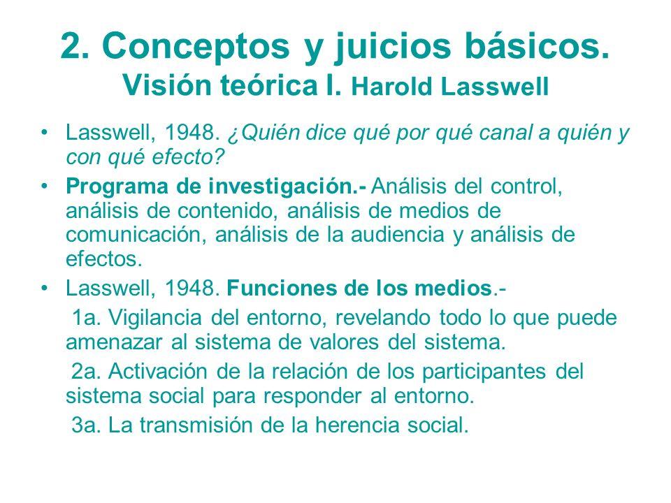 2. Conceptos y juicios básicos. Visión teórica I. Harold Lasswell Lasswell, 1948. ¿Quién dice qué por qué canal a quién y con qué efecto? Programa de
