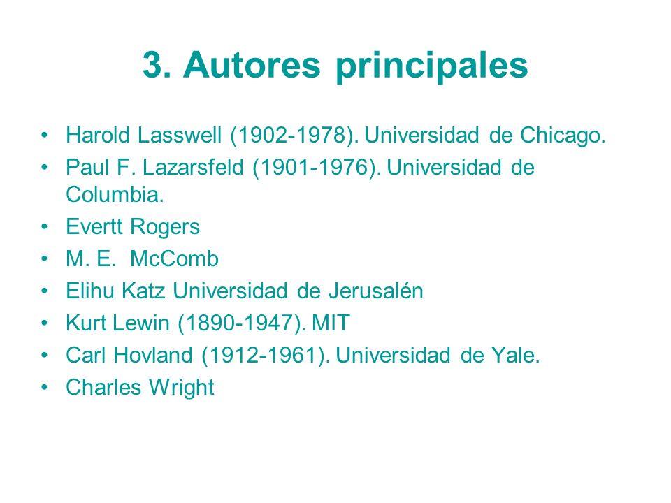 3. Autores principales Harold Lasswell (1902-1978). Universidad de Chicago. Paul F. Lazarsfeld (1901-1976). Universidad de Columbia. Evertt Rogers M.