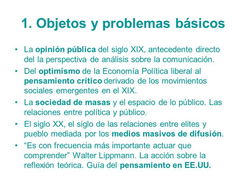 1. Objetos y problemas básicos La opinión pública del siglo XIX, antecedente directo del la perspectiva de análisis sobre la comunicación. Del optimis