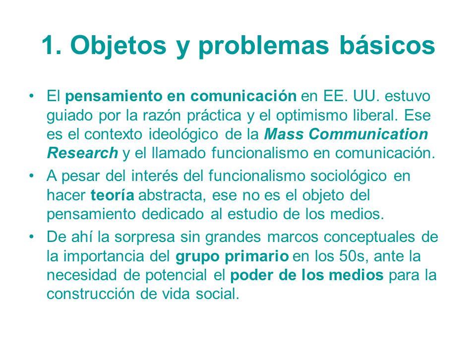1. Objetos y problemas básicos El pensamiento en comunicación en EE. UU. estuvo guiado por la razón práctica y el optimismo liberal. Ese es el context