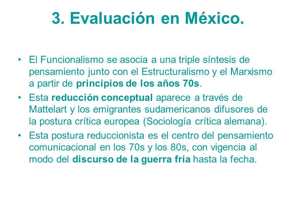 3. Evaluación en México. El Funcionalismo se asocia a una triple síntesis de pensamiento junto con el Estructuralismo y el Marxismo a partir de princi