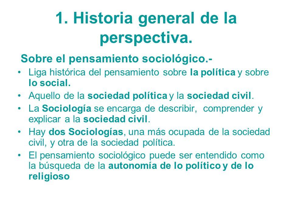 1. Historia general de la perspectiva. Sobre el pensamiento sociológico.- Liga histórica del pensamiento sobre la política y sobre lo social. Aquello