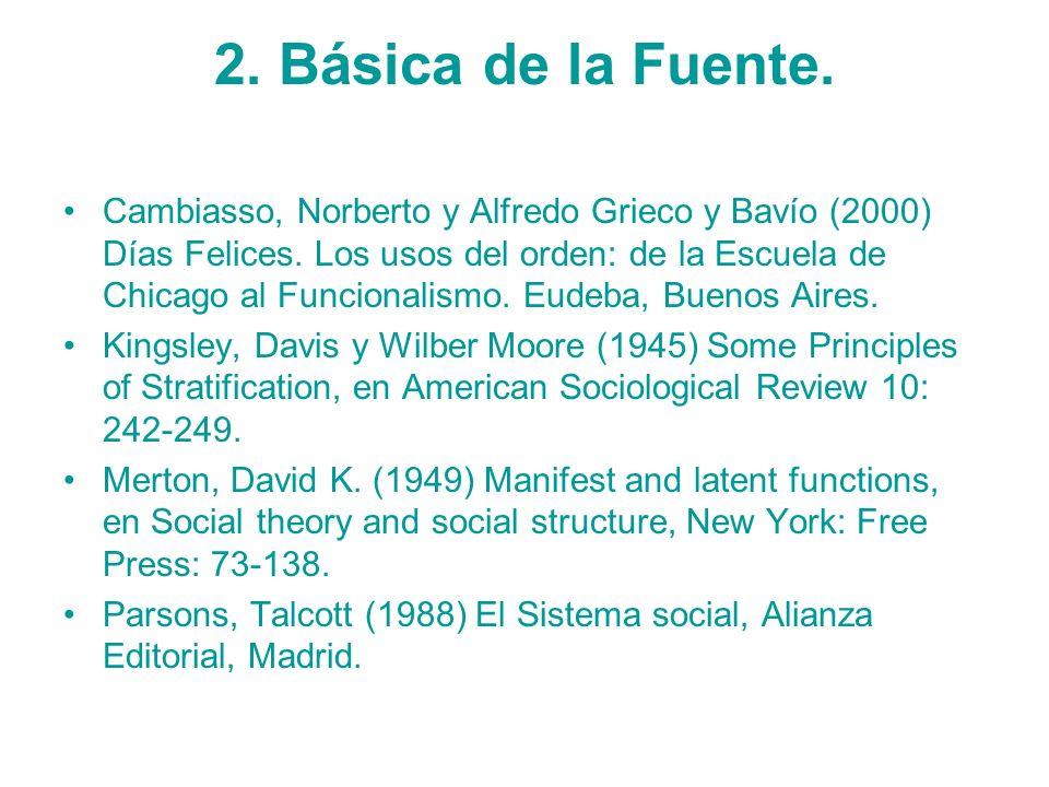 2. Básica de la Fuente. Cambiasso, Norberto y Alfredo Grieco y Bavío (2000) Días Felices. Los usos del orden: de la Escuela de Chicago al Funcionalism