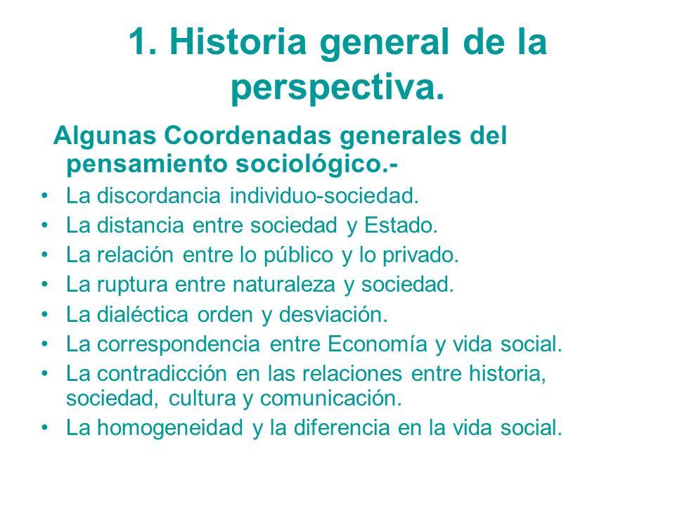 1. Historia general de la perspectiva. Algunas Coordenadas generales del pensamiento sociológico.- La discordancia individuo-sociedad. La distancia en
