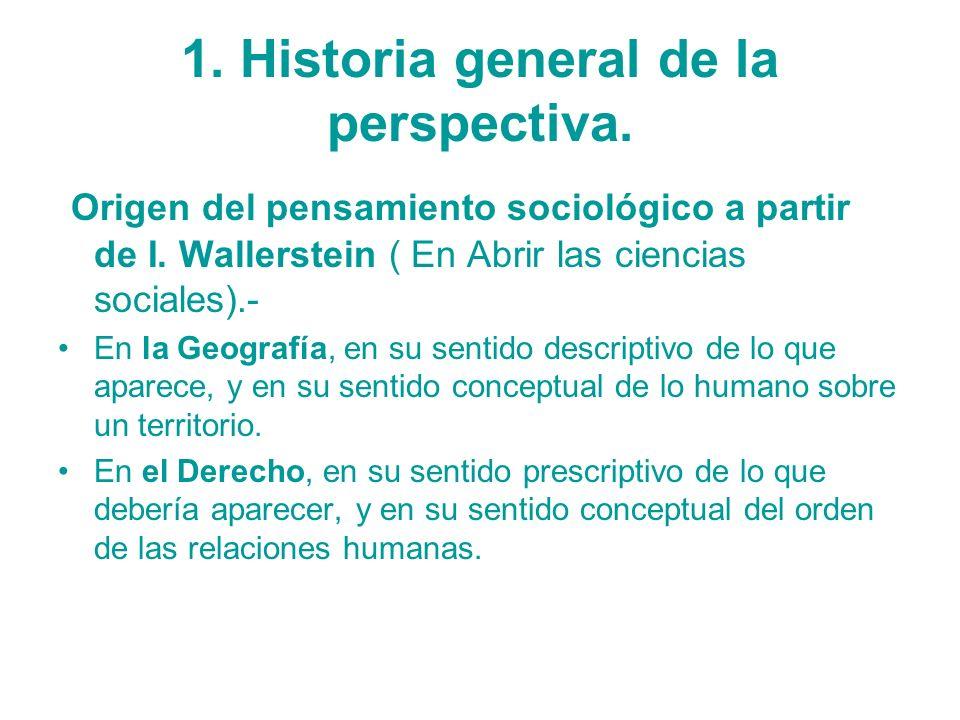 1. Historia general de la perspectiva. Origen del pensamiento sociológico a partir de I. Wallerstein ( En Abrir las ciencias sociales).- En la Geograf