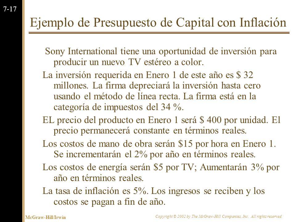McGraw-Hill/Irwin Copyright © 2002 by The McGraw-Hill Companies, Inc. All rights reserved. 7-16 7.3 Inflación y Presupuesto de Capital La inflación es